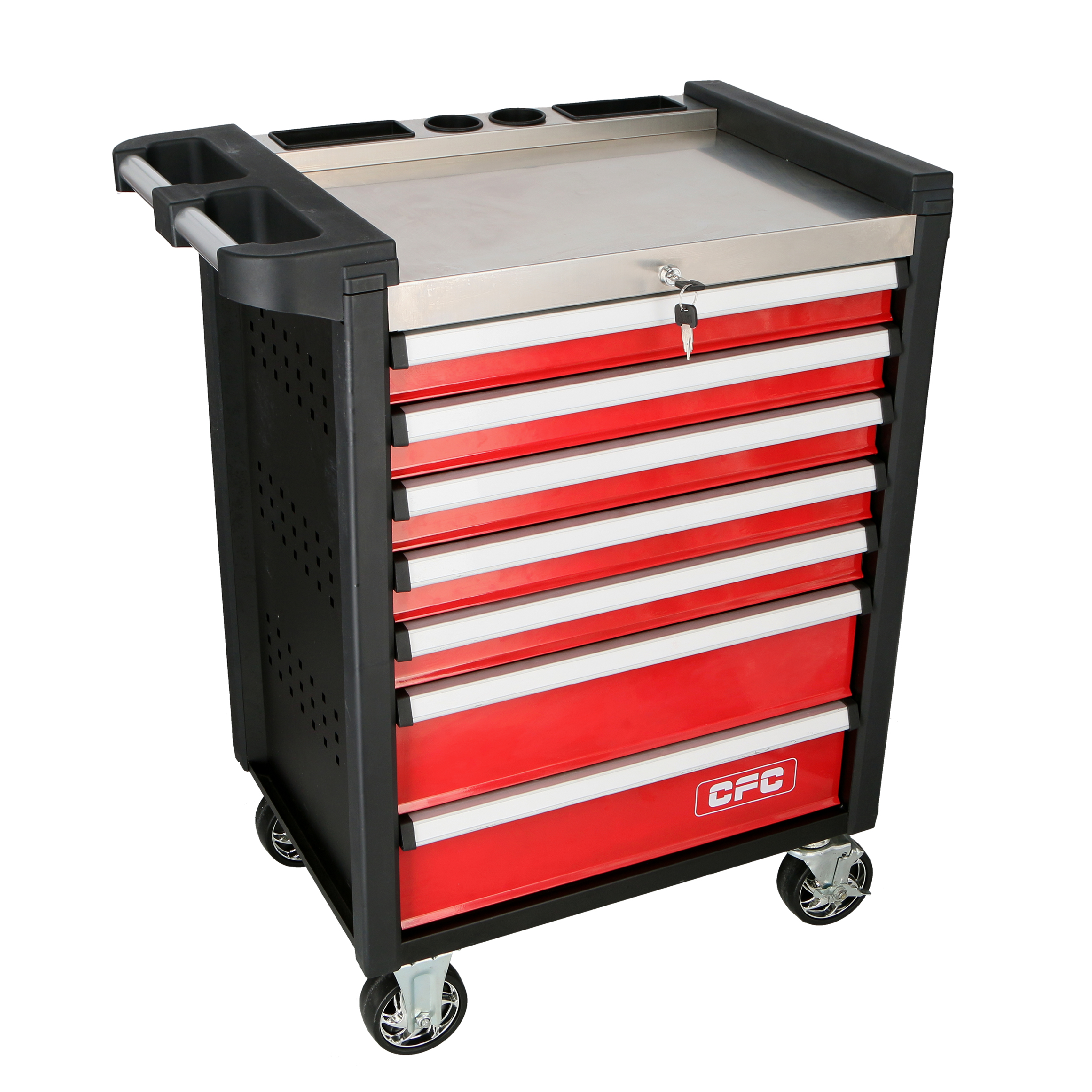 ROLLER CABINET, 7 DRAWERS, STAINLESS STEEL TOP
